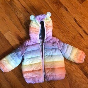 Girls Baby Gap rainbow puffer jacket